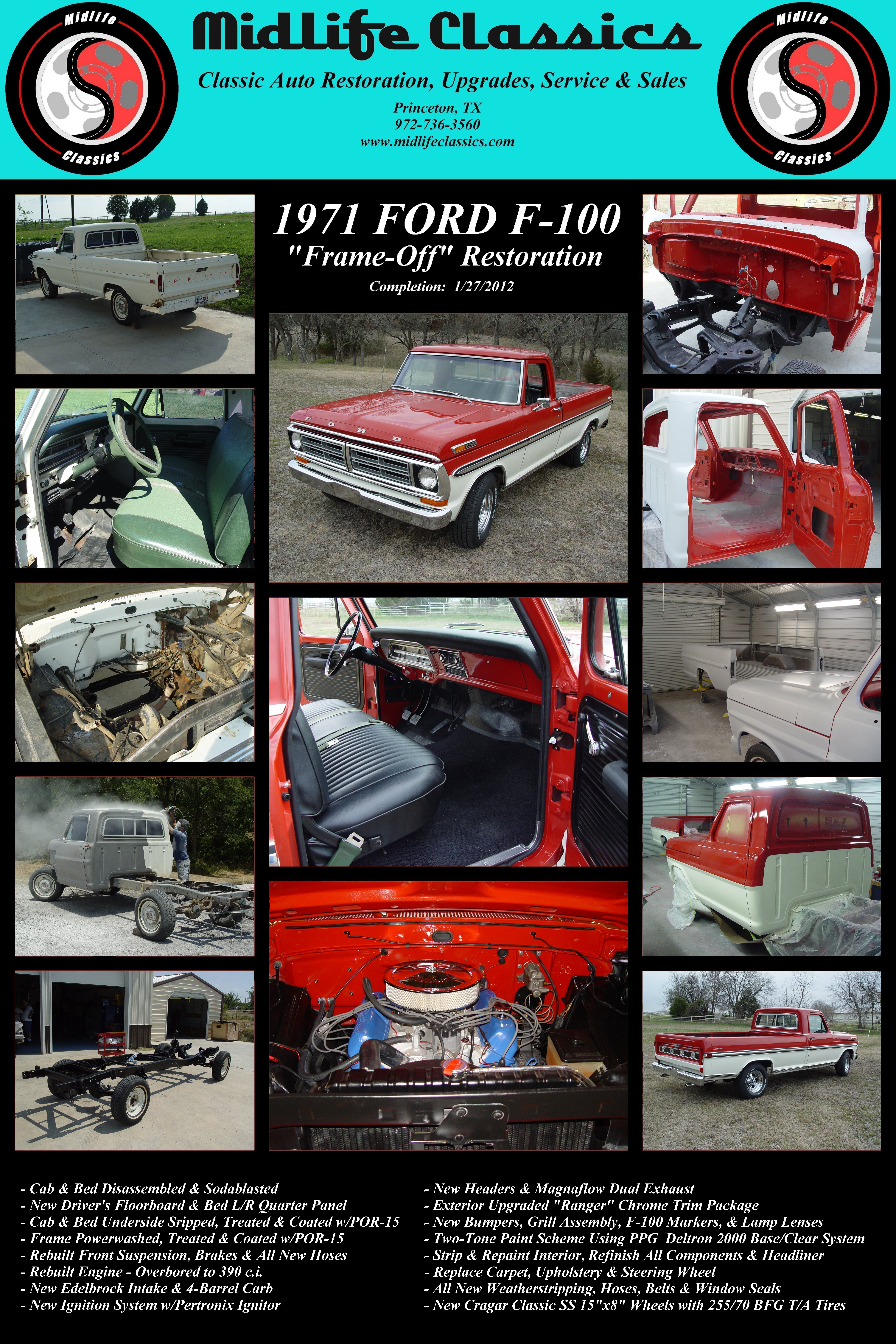 Midlife Classics 1971 Ford F 100 Restoration Bronco Interior When The Owner Of Big Red Came By To Pick Up That We Had Finished For Him He Brought And Dropped Off This Pickup Truck
